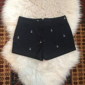 J. Crew Embroidered Anchor Chino Shorts in Navy